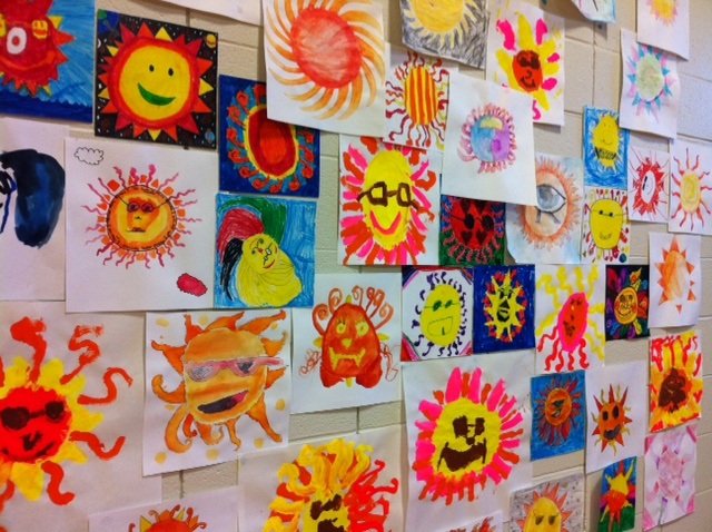Students at Pierremont Elementary School created paintings inspired by their solar-power installation.
