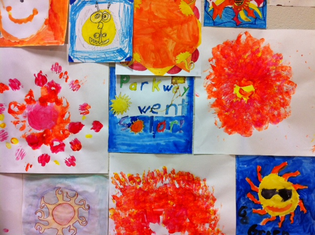 Students at Pierremont Elementary School created paintings inspired by their solar-energy system