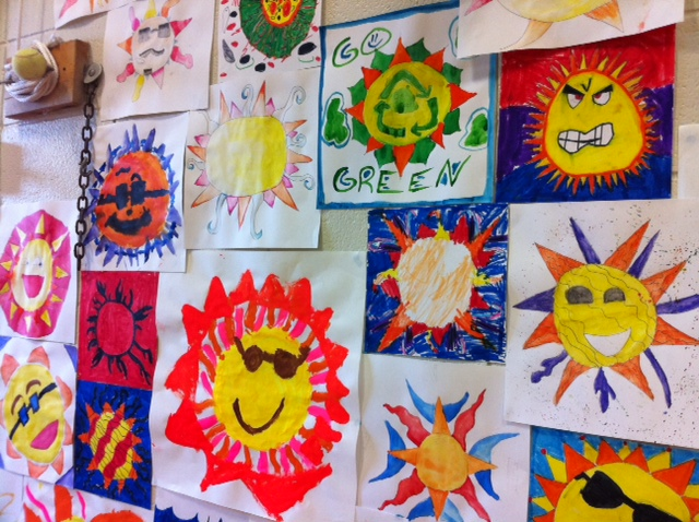Solar-energy-inspired paintings created by students at Pierremont Elementary School.