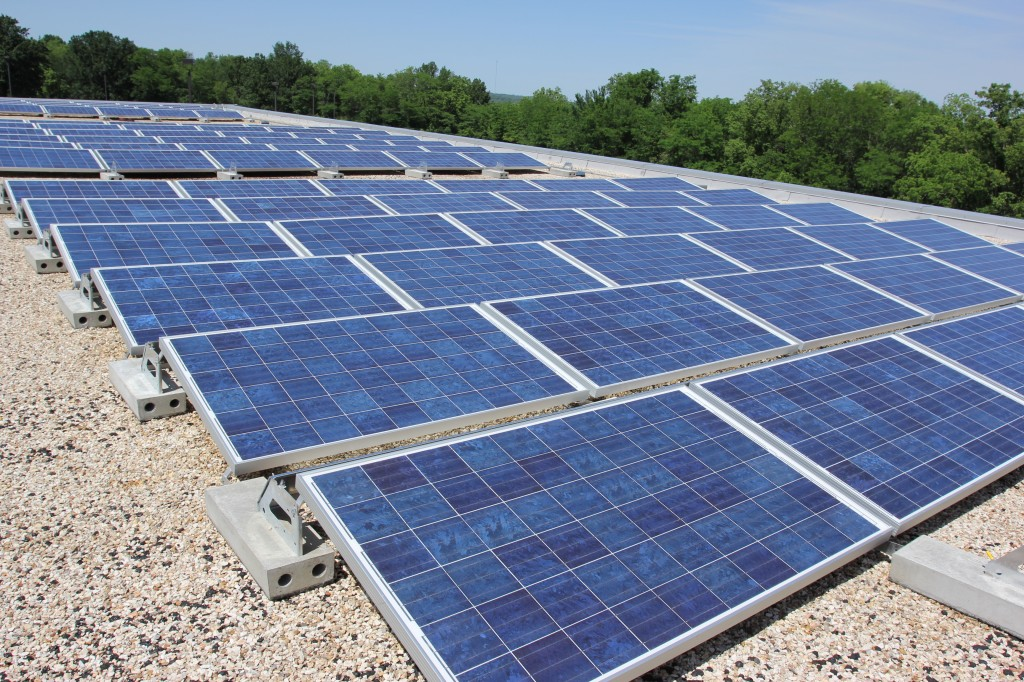 One of three 25 kilowatt solar energy systems installed previously by Brightergy for the KCMO Water Services Department. The City of Kansas City, Missouri plans to install solar on 80 municipal buildings through partnerships with Brightergy and KCP&L.
