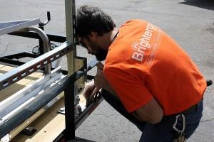 putting together horace mobile solar energy demo unit