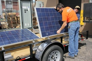 placing panels on horace mobile solar energy demo unit