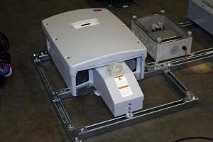 inverter on racking horace mobile solar energy demo unit
