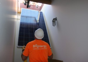 lifting solar panel to roof