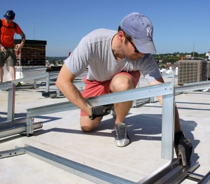 installing racking brightergy office solar energy installation