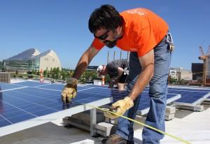 measuring solar installation at brightergy office