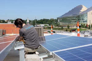 solar panels with view of kauffman center