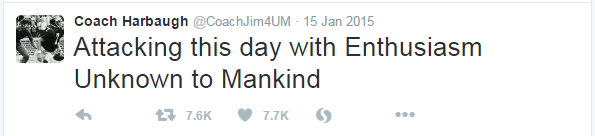 Coach Jim Harbaugh tweeted out,