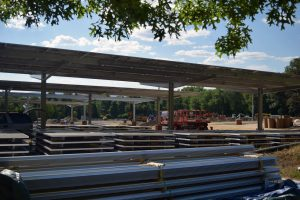 solar canopy construction site at UMass Amherst