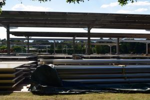 racking and solar panels for solar canopy installation at UMass Amherst