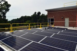 another photo of the lower level of UMass Amherst Police Center's rooftop solar array