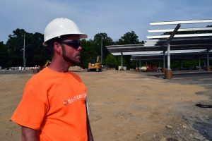 Brightergy team member on site at UMass Amherst solar installation